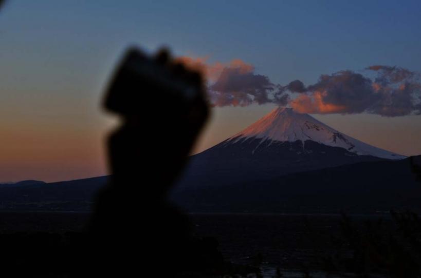 アウトドアコーヒー 富士山 夕日