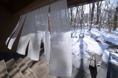 山水閣-02 のれん 雪